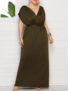 Платье большого размера для женщин с V-образным вырезом черного цвета