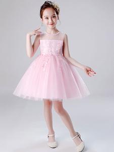 Платья для девочек-цветочниц Драгоценная шея Тюль без рукавов длиной до колен Принцесса Силуэт Вышитые детские платья для вечеринок