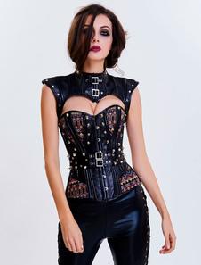 スチームパンク ビスチェ ブラック ポリエステル 女性用 ノースリーブ メタリック モールデッド