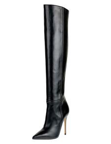 Sexy Pointed Toe PU Leather sobre as botas do joelho