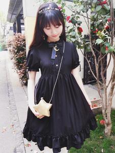 Gothic Lolita Dress Castle в лунном свете OP Black Chiffon Lolita One Piece Dress
