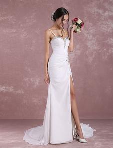 Летние свадебные платья 2020 Mermaid Beach Свадебное платье Высокое раскол Милая Бисероплетение Плиссированные Спагетти ремень Свадебное платье с поездом