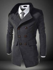رمادي  الرجال خندق معطف  ترتيب الأسرة ذوي الياقات البيضاء كم طويل معطف مزدوجة الصدر يتأهل الشتاء 2020