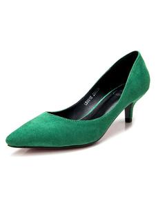 Mãe Da Noiva Sapatos 2020 Bombas Do Salto Do Gatinho Verde Deslizamento Em Bombas Para As Mulheres