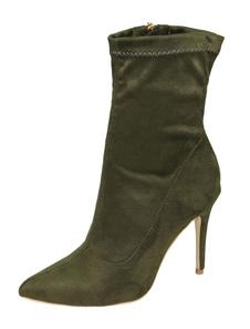 Stretch Ankle Boots Caçador de salto alto Green Zip Up Stiletto Heel Pointed Toe Booties
