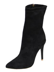 Botines negros mujer Botas Botines de puntera puntiaguada de felpa Color liso transpirables estilo street wear estilo moderno 2020