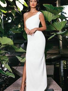 Vestido largo blanco  Moda Mujer sin mangas de poliéster Vestidos Color liso con abertura con escote a un solo hombro estilo moderno Verano