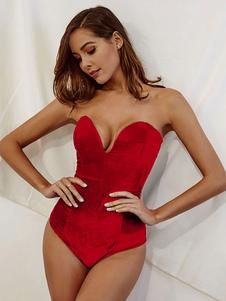 Sexy Velour Body Mujeres sin tirantes de novia con cordones sin espalda Club Top