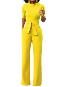 Женщины с длинным комбинезоном Желтый подставной воротник с половиной рукавом Широкие комбинезоны для ног