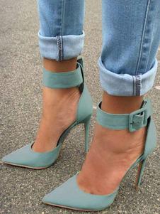Sapatos de salto alto feminino Pointe Toe Stiletto PU Mint Green Straight Shoes