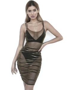 Vestido de club sexy ver a través de las correas de vestir acanalado vestido de noche de tul escarpado para las mujeres