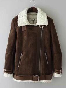 Коричневая замша Куртка на молнии до негабаритных женщин Зимняя куртка с поясом