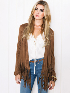 Giacca marrone chic & moderna monocolore in pelle scamosciata abbigliamento giornaliero con frange corta