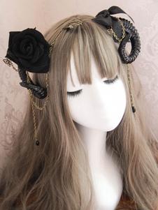 اكسسوارات الشعر القوطية لوليتا عام٢٠١٩ القوس روز هول لامع الساتان لوليتا مقطع الشعر