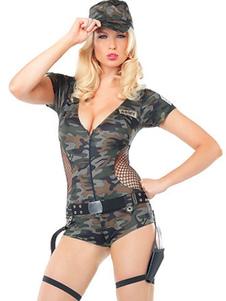 Хэллоуин армии костюм Sexy женщин Camo печатных 2 шт Комбинезоны комбинезон и шляпа