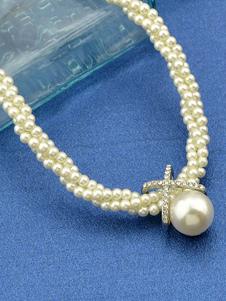 Collana filo perla multistrato con X-Cross