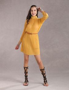 Vestido vintage de seda sintética con cinturón