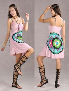 Довольно Голубой Мерил Спагетти цветочные Женская летнее платье