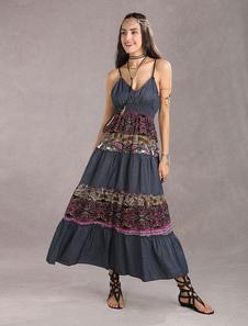 Boho Летнее платье Женщины в стиле трайбл с длинным рукавом
