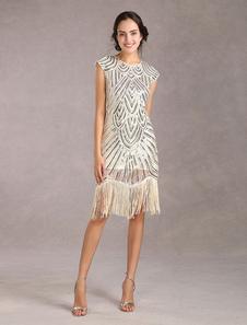 1920-х годов Мода Хлопушка Платье Великий Гэтсби Старинные Костюмы женские Блестки Кисточки Абрикосовое Платье Хэллоуин
