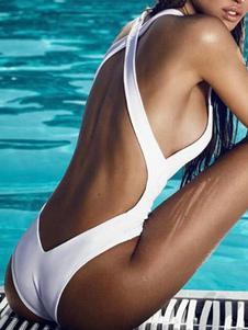 Una Pieza Traje De Baño Cruz Atrás Trajes Sexy De Baño Para Mujeres