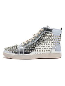 Homens de sapatilhas de prata dos homens rodada toe rendas até rebites altos sapatos de skate de topo spike shoes