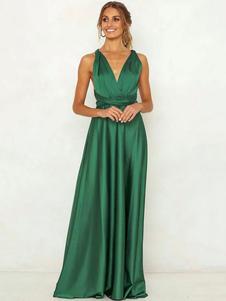 Vestido largo verde  Moda Mujer Color liso sin mangas Vestidos de poliéster muy escotado por detrás cruzada con cuello en V Primavera Verano