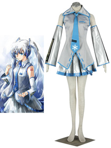 Disfraz Carnaval Vocaloid Snow Miku Halloween Cosplay traje 65% algodón 35% Terylene Halloween Carnaval