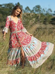 Boho Dresses Maxi Summer Women Scollo a V Stampa floreale Tassels Sexy Split Abito lungo Beach