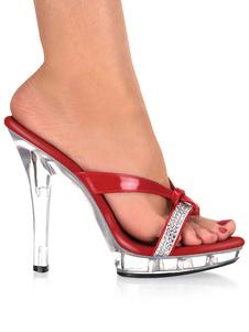 """As mulheres """"sexy"""" vermelhas das sandálias abrem deslizadores sem dedos da sandália dos cristais de rocha do dedo do pé"""