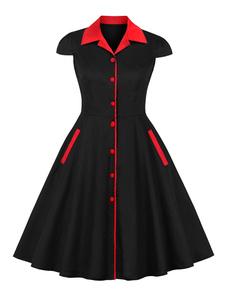 Vestido vintage preto 1950s Cap manga Turndown Collar dois tons Swing Dress