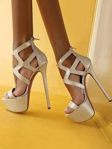 المرأة مثير الصنادل منصة مفتوحة تو قطع خارج زمم أحذية عالية الكعب صندل