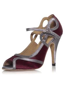 Фиолетовый Cut Out Peep Toe женщина танцевальная обувь