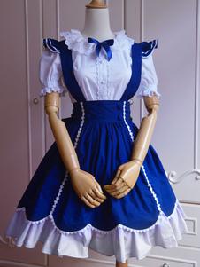 Roupas de Lolita doce algodão azul manga curta