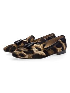 Леопардовые мокасины мужчины кисточкой бездельник обувь конский волос круглый носок туфли туфли
