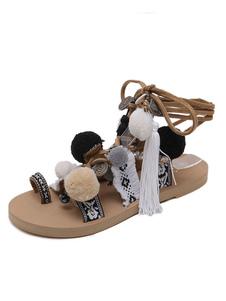 Boho Gladiator Sandálias Brown Toe Loop Lace Up Sandals Sandálias Das Mulheres Planas Com Pom Poms