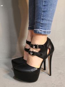 Scarpe con tacchi alti sexy 4cm nere con Tubo di Low-Tops PU PU mandorla tacco a fino 14cm Scarpe con Tacchi Alti chic & moderne da rave party donna