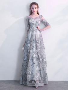 Abiti da sera grigi Lunghi Mezze maniche Illusion Piano Lunghezza A Line Formale Party Dress