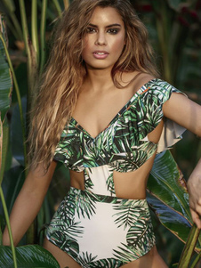 Traje de baño de mujer Monokini Off The Shoulder Ruffles Cut Out Leaf Print Ropa de playa