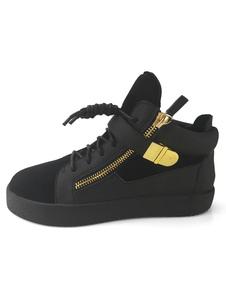 Zapatos de lona de cuero auténtico negros Color liso con cremallera estilo informal de puntera redonda Otoño para ocasión informal