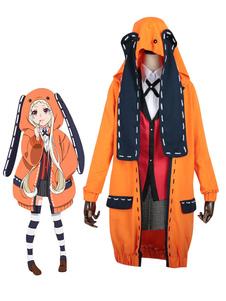 Disfraz Carnaval Kakegurui naranja De tela de uniforme con abrigo&con pañuelo&Calcetines hasta la rodilla&con camisa&con falda Carnaval