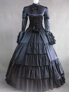 Disfraz Carnaval Vestido de las mujeres traje de la época victoriana volantes de satén negro manga larga Retro Maxi Halloween Carnaval