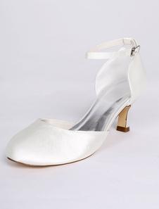 أحذية الزفاف العاج 2020 الأشرطة الساتان الكاحل أحذية الزفاف خمر أحذية الزفاف