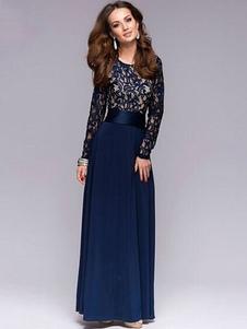 Vestido comprido No Built-in Bra azul escuro gola redonda com mangas compridas