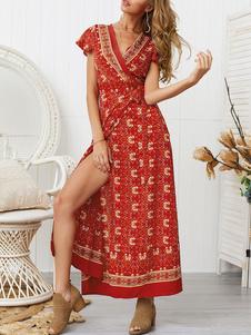 Vestidos Bohemian 2020 Vermelho Com Decote Em V Mangas Curtas Floral Imprimir Vestido de Comprido de Tornozelo