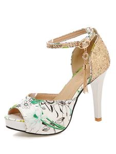 Sandálias de plataforma floral impresso Peep Toe