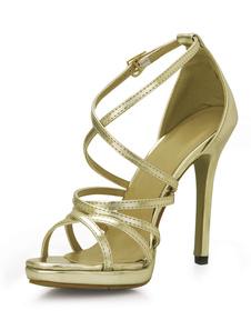 Sandali d'oro alla moda sexy metallici per donne