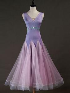 Костюм для бальных танцев Розовые платья Женщины с длинными рукавами из бисера Органза Тренировочная одежда для танцев Хэллоуин