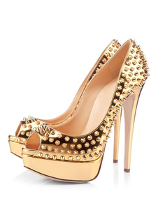 Сексуальные высокие каблуки Золотая платформа Peep Toe Заклепки Stiletto Heel Pumps Спайк обувь для женщин