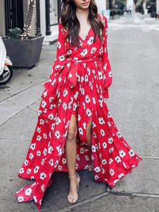 Vestido largo Rojo con estampado de flores con manga larga Vestidos de chifón con abertura lateral con cuello en V Primavera Verano